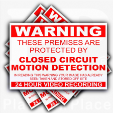 1 x EXTERNAL-Premises Protected by MOTION DETECTION Closed Circuit CCTV Stickers-Red on White-130mmx87mm-Worded-Video Recording Camera Security Warning